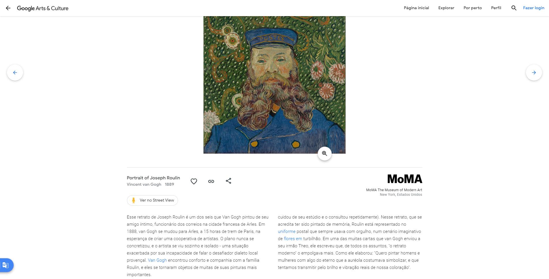 retrato de joseph roulin van gogh 1889 museu de arte moderna de nova york moma virtual google designe