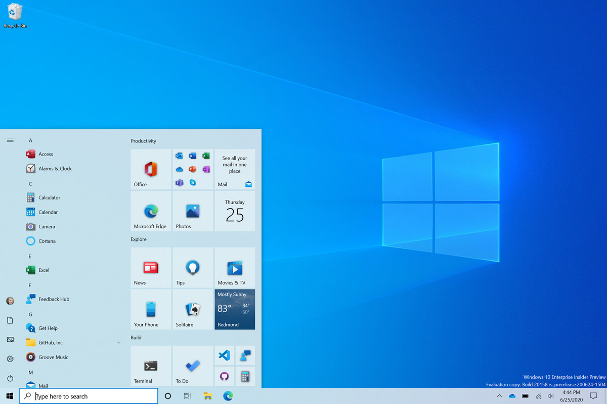novo menu iniciar windows 10 designe