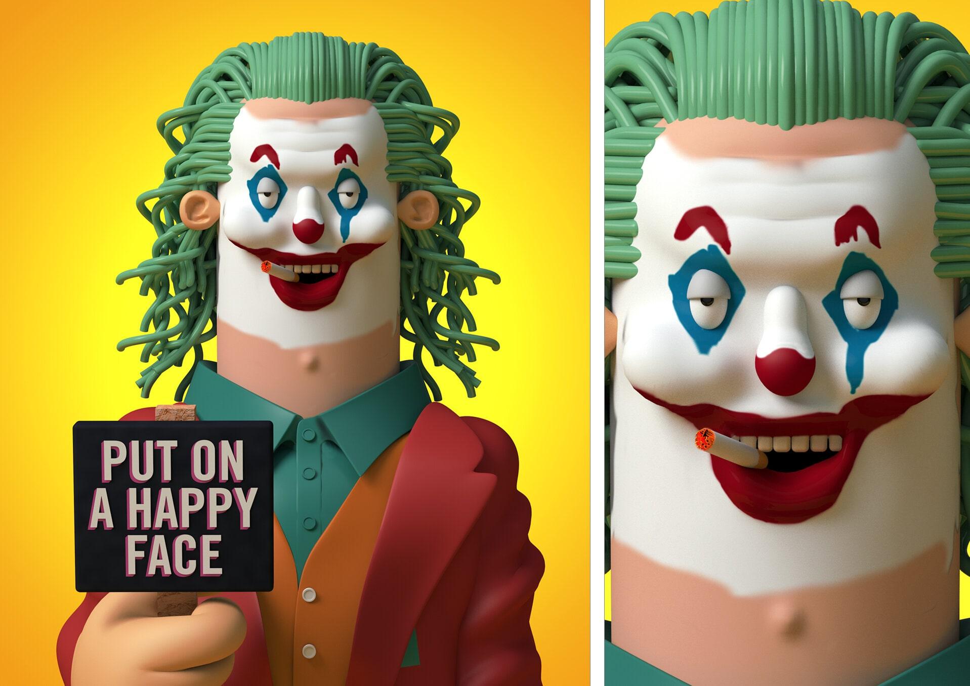 joker ilustracao 3d designe