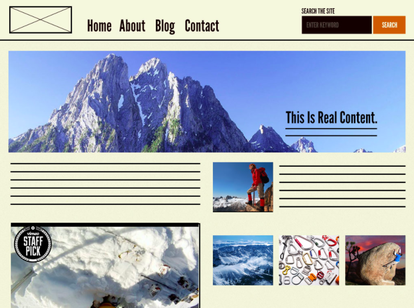 A page is the final product, where the placeholder content gets replaced with real content.