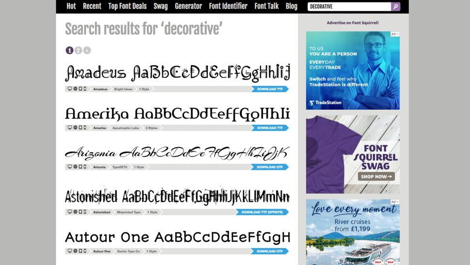 How to add fonts in Photoshop: Font Squirrel page
