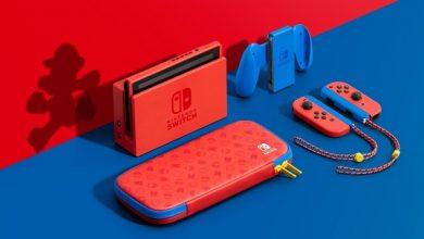 nintendo switch vermelhor e azul aniversario mario bros designe