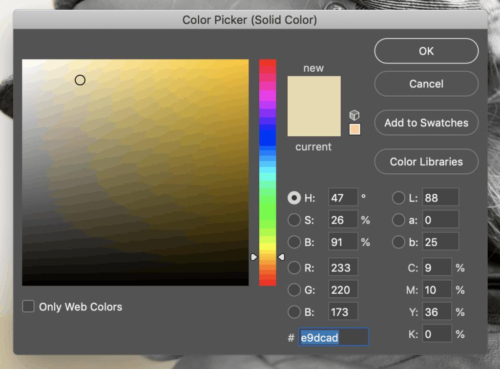 Escolha uma cor adequada