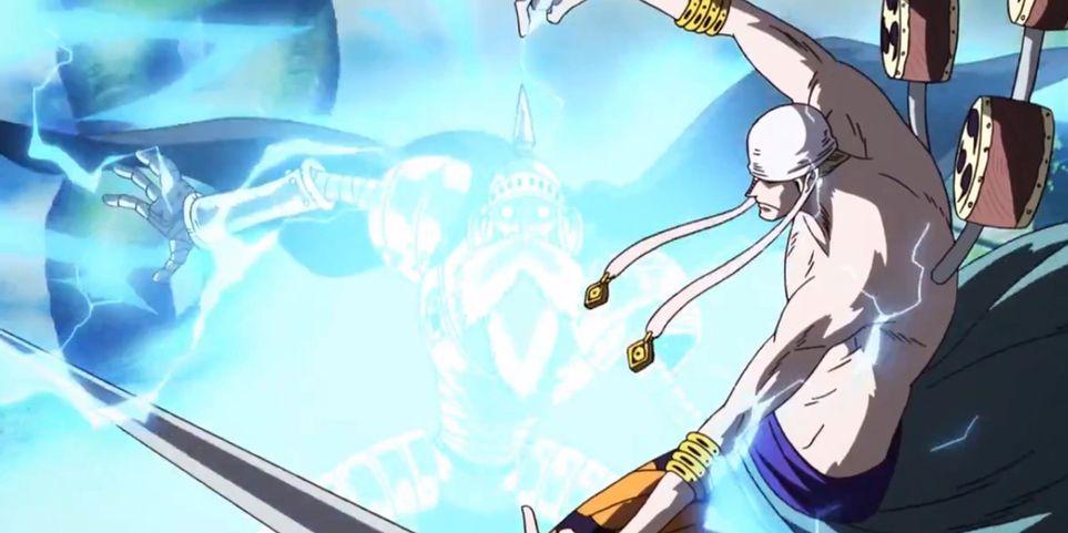 One Piece Enel usando sua akuma no mi em Skypiea