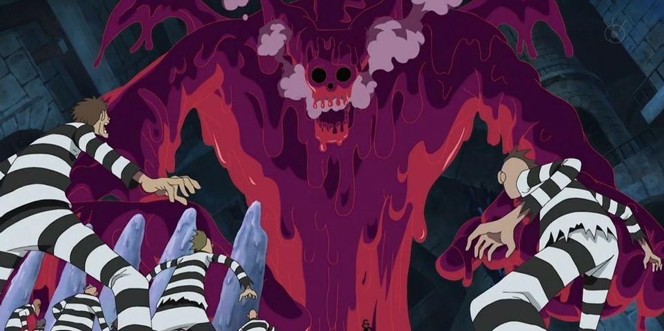 One Piece Magellan usando seu veneno mortal em Impel Down